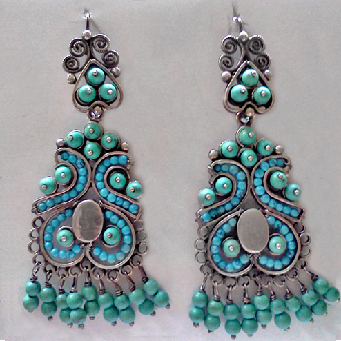 Muñeca Turquoise Earrings A Rubli Mexican Jewellery