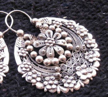 Mexican Silver Filigree Hoops